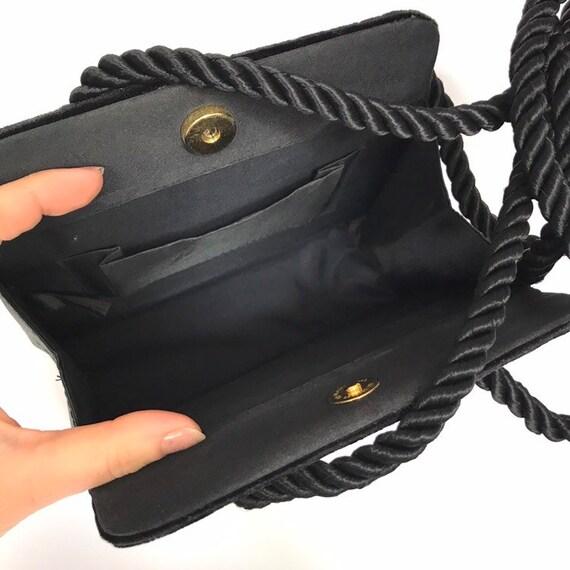 Vintage black velvet handbag with a rope strap by… - image 7