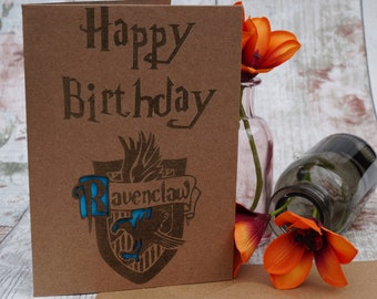 Harry Potter Inspired Birthday Card, Ravenclaw, Laser Engraved Card, Happy Birthday