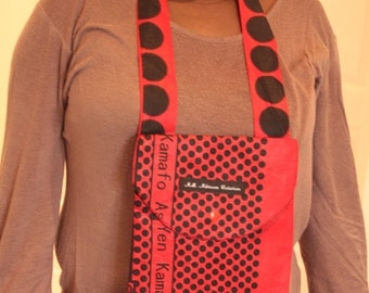 Red black dot fabric travel pouch