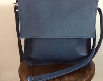 Blue Leather cross Body shoulder bag
