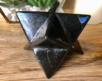 """XXL Shungite Merkaba. Premium 4"""" Shungite Merkaba Star. Polished Shungite Crystal For Manifestation. Reiki. Chakra Stones. Meditation"""