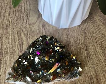 XL Titanium Aura Quartz Cluster. Rainbow Aura Crystal Point Cluster For Crystal Healing. Titanium Rainbow Aura Quartz Gifts For Her