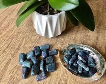 Premium Ruby Kyanite Tumbled Stone. Ruby Kyanite For Crystal Grids & Chakra Balance. Ruby Kyanite Chakra Stones Reiki. Meditation