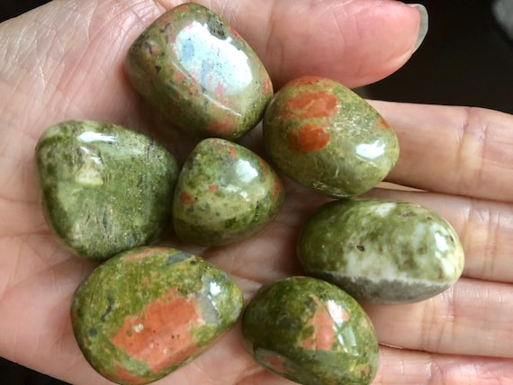 Large Tumbled Unakite Metaphysical Stone of Strength /& Vitality