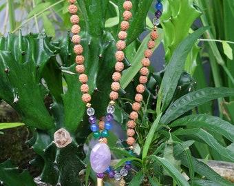 Beautiful Handmade Mala Necklace with Tassel. Mala Necklace Meditation Gifts. Rudraksha & Chakra Stone Mala Necklace 108 Beads
