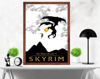 Skyrim Minimalist Video Game Print Poster