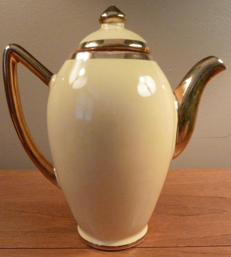 creamer open sugar bowl 4 cup and saucer sets Vintage 1940s Santa Anita yellow and gold demitasse coffee pot