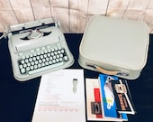 1965 HERMES 3000 Typewriter with Premium Leather-Fabric-Lined Case and manuals