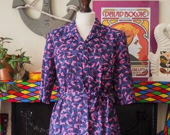 Vintage purple & pink 80's patterned midi dress button up shirt belted belt size 14, 16 Aspens