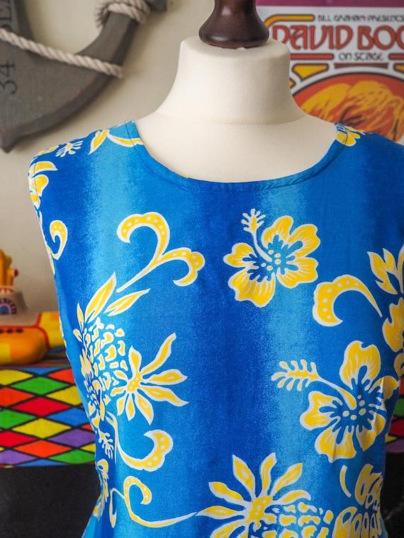 Vintage bright blue & yellow floral Hawaiian dress