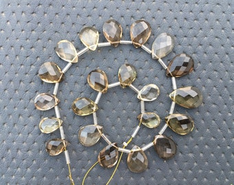 Natural Green Amethyst Drops Faceted Briolettes 6x8-8x12 mm approx size 26 pieces