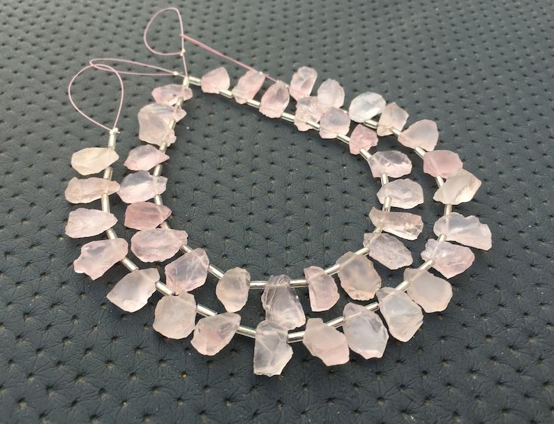 Unique Specimen 21 Pieces Fantastic Quality Natural Rose Quartz Gemstone Rough Size 6x10-9x14 MM Side Drilled Making Pink Jewelry Wholesale