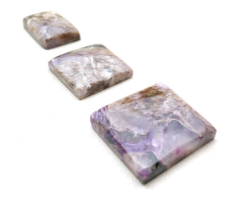 Smooth Charoite Beads,Charoite Gemstone Wholesale Price Top Quality 3 Pieces Natural Charoite Cabochons Multi Shape Gemstone