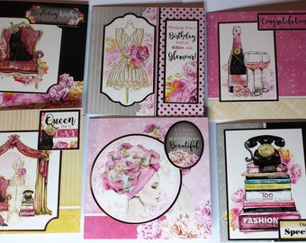 Set of 6 handmade greeting cards, Greeting cards, Birthday card, Set of cards, Handmade cards, Pink cards, Cards for her