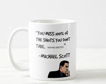 the office star mug. Michael Scott Quote, The Office Star Mug, Face,  Show, Fan Gift, Wayne Gretzky The Office Star Mug