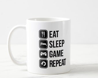 Eat Sleep Game Repeat Mug, Playstation Mug, Eat Sleep Game, Gaming Mug, Gaming Gift, Gamer Mug, Gamer Gift, Video Game Gift, Video Game Mug