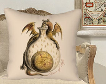 Elixir of Life Alchemy Pillowcase / Cushion Cover Large 18 x 18 inch. Medieval Alchemical Drawing