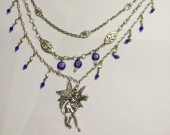Fairy and Blue Glass Beads 3 tier Necklace