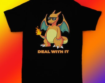 43bfe2af Pokemon shirt Charizard Deal With It t shirt tee gift ideas / unisex,  womens, mens shirt / cotton clothing / birthday apparel gift for him