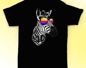 8b1162ecc Zebra shirt Zebra with sunglasses t shirt gift ideas / unisex, womens, mens  shirt / cotton clothing