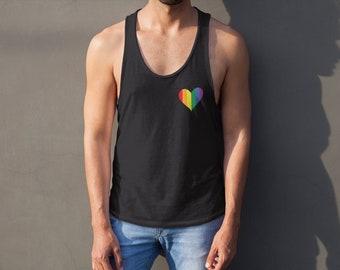 3723fbaf Rainbow heart, gay tank top, Gay rainbow, Gay Rainbow flags, LGBT tank top, Pride  Tank top, Rainbow Muscle Tank Top, LGBT tank, Pride tank