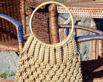 vintage hemp with wooden handles bag