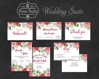 Wedding Invitation Download, Wedding Invitation, Wedding Suite, Wedding Stationary, Floral Wedding Invitation, Printable Invitation, Digital
