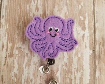 Marine Life Badge Holder Octopus Badge Reel Cute Purple Octopus Jellyfish Nurse Badge Reel Glitter Nurse Badge Holder