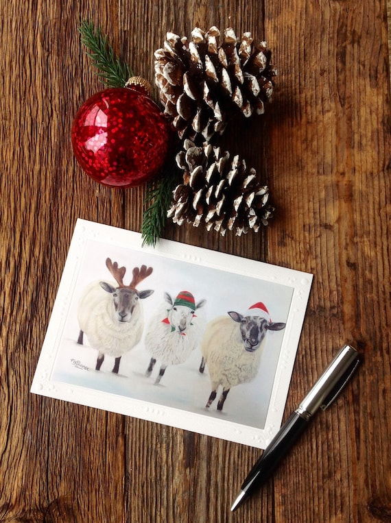 Sheep Christmas Card Blank Country Style Holiday Print | Etsy