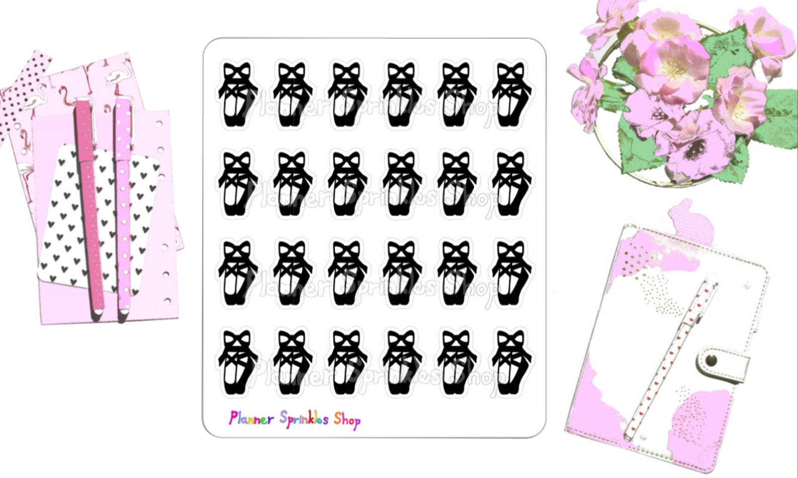 ballet shoes planner stickers / dance stickers / red pink shoes / hand drawn planner stickers