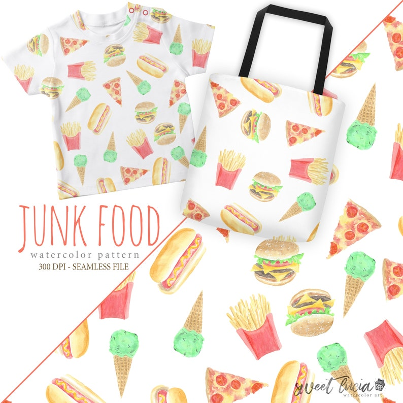 95801f58bc8a2 Seamless Junk Food Pattern - watercolor artwork features pizza, burgers,  fries and ice cream - great for fabric, wallpaper, gift wrap & more