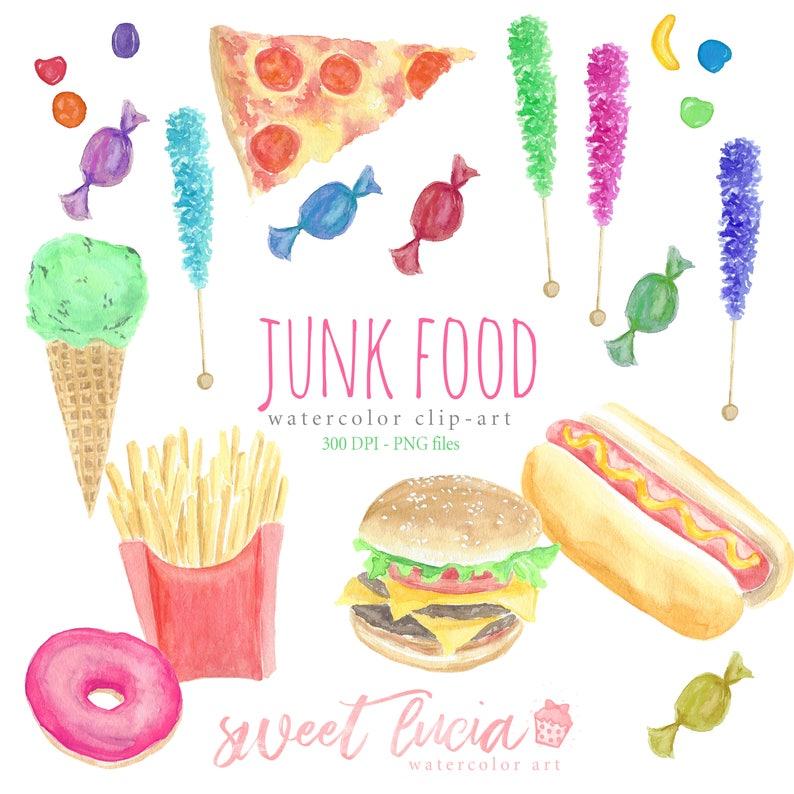 9129d0844760c Watercolor Clip Art Junk Food Set, Hamburger, Hot Dog, French Fries, Candy,  Rock Candy, Donut, Runts, Fast Food, Pepperoni Pizza, Ice cream