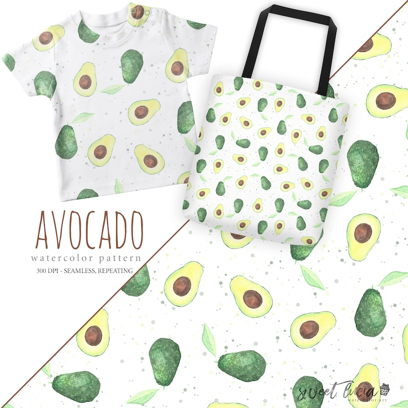 488bb6abbd318 Seamless Avocado Pattern - watercolor artwork features hand painted  avocados, seamless and repeating, great for fabric