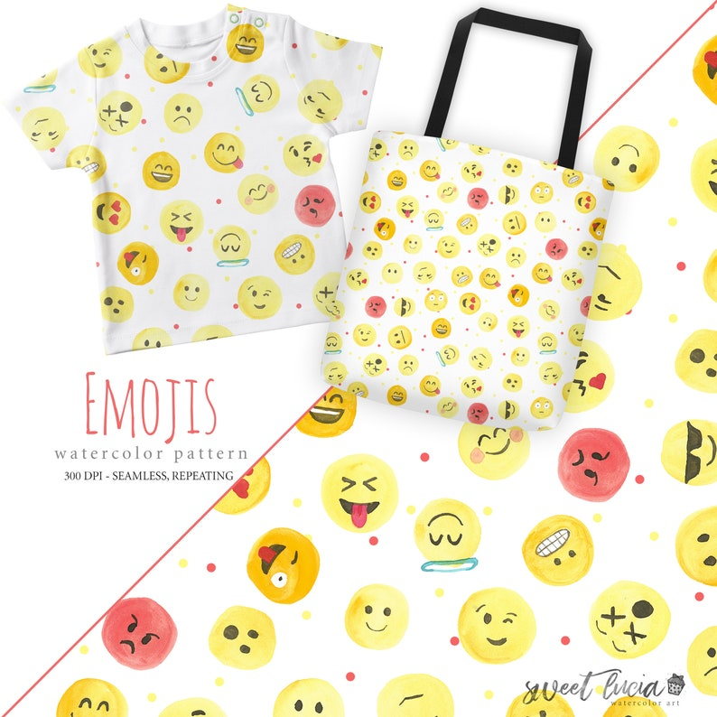 08bb5de49919b Seamless Emoji Pattern - watercolor artwork features hand painted emojis,  seamless and repeating, great for fabric