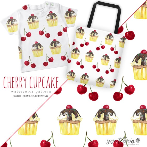 282fc1a9b6be4 Seamless Cherry Cupcake Pattern - watercolor artwork features Cherry topped  cupcake and cherries, seamless and repeatable