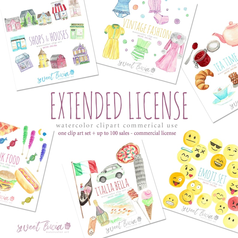 089d9b07119e5 Commercial Use License for Watercolor Clipart and Patterns by Sweet Lucia  Art - 1 Clipart set + 100 sales