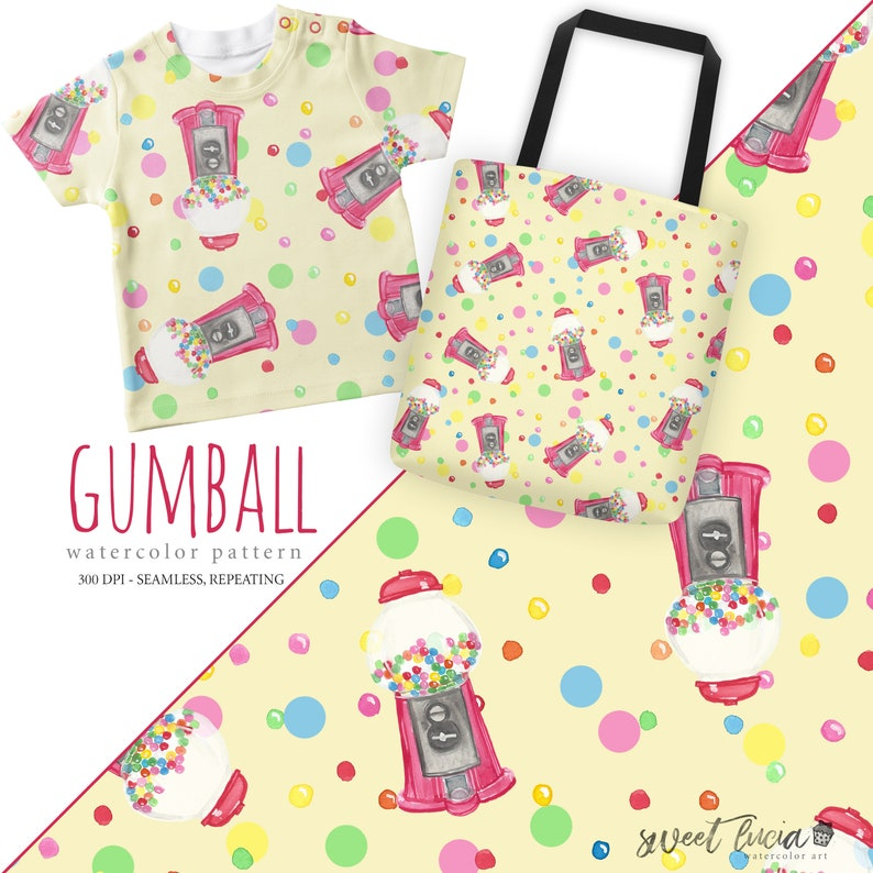 734a0ec08a48a Seamless Gumball Pattern - watercolor artwork features gumball machine and  gumballs in bright colors, seamless and repeating