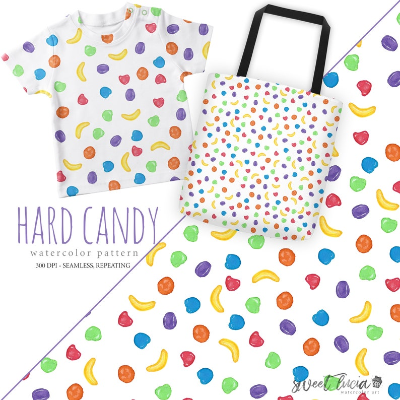 1abc27a0c0c6d Seamless Runts Candy Pattern - watercolor artwork features fruit hard candy  in bright colors, seamless and repeatable