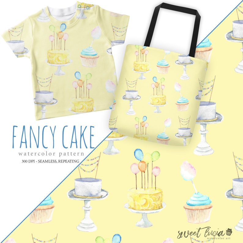 633e1452d896c Seamless Cake Pattern - watercolor artwork features fancy cakes on a butter  yellow background, seamless and repeating!