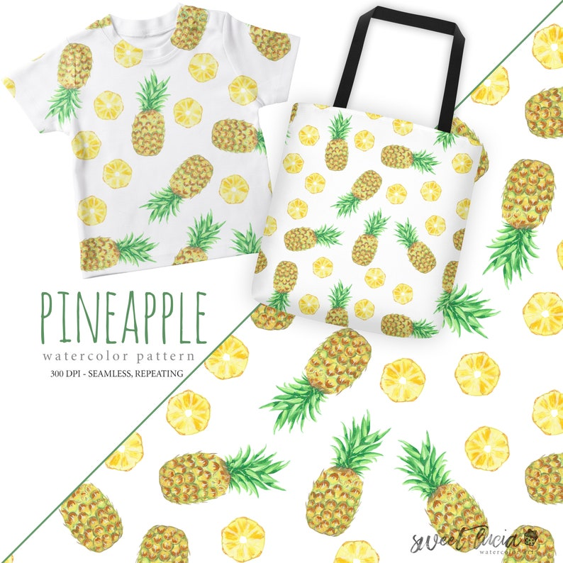 63e347155107b Seamless Pineapple Pattern - watercolor artwork features hand painted  pineapple and slice, seamless and repeating, great for fabric