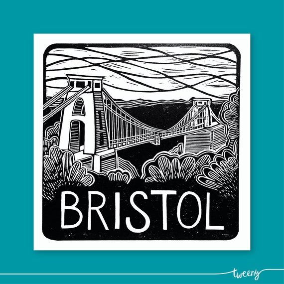 Bristol lino print greetings card handmade local etsy image 0 reheart Images