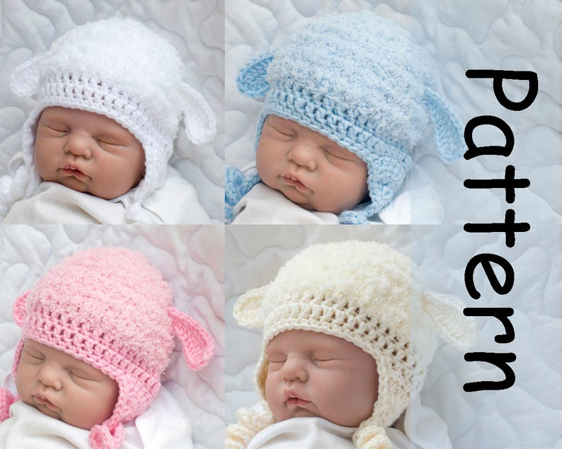 5d7f7cfb3751 Fluffy LAMB HAT PATTERN Baby Boy Hat Pattern Baby Girl Hat