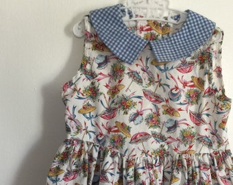 Vintage Girls Sleeveless Dress Peter Pan Collar 1980s Girls Dress Size 5