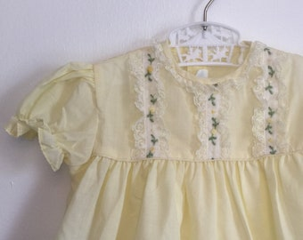 Vintage Nannette Baby Girls Yellow Dress with Embroidery and Lace Vintage baby Girl Dress Easter Sunday Best Dress