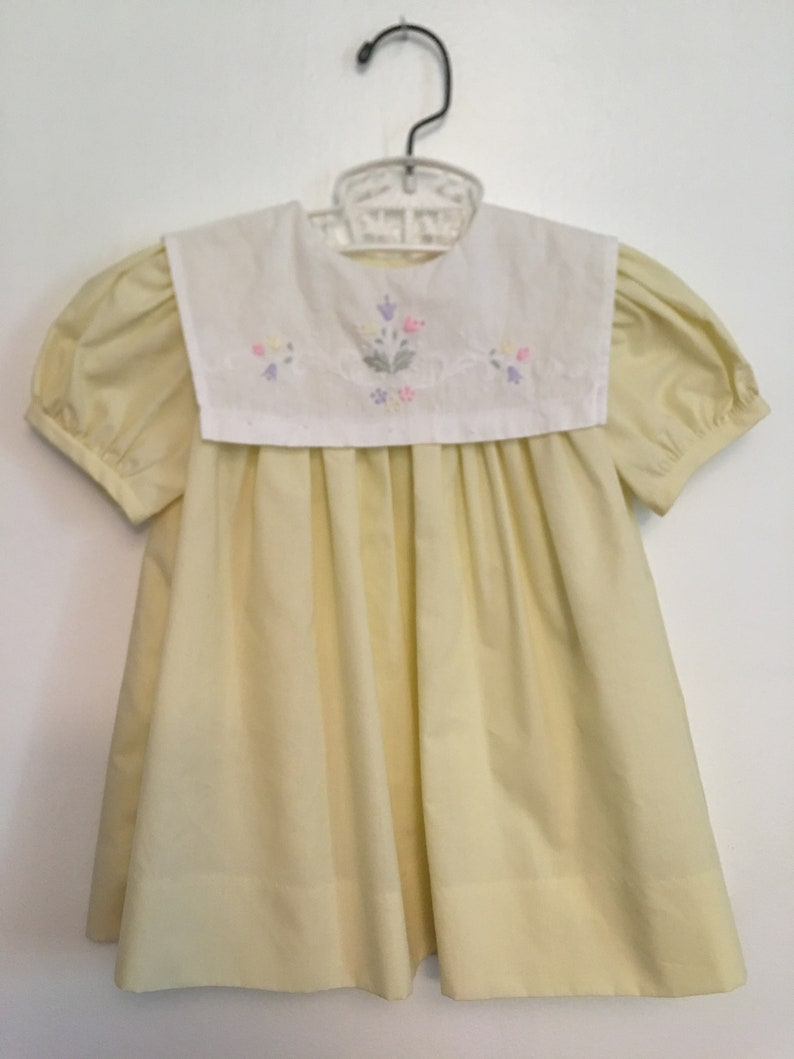 4c26a217589 Vintage baby Dress Lavender Blue traditional pale yellow dress