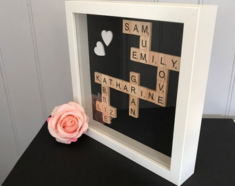 Scrabble tile crossword frame