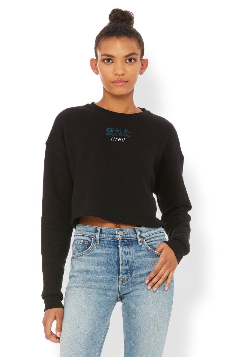 3f70ae428c12 Tired Japanese Cropped Sweatshirt Aesthetic Clothing