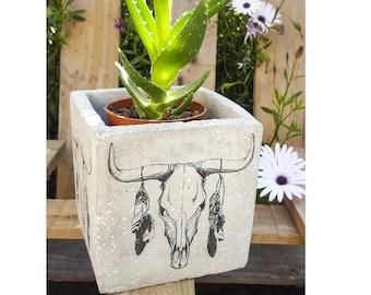 Custom concrete printed Buffalo head pot - 13x13cm