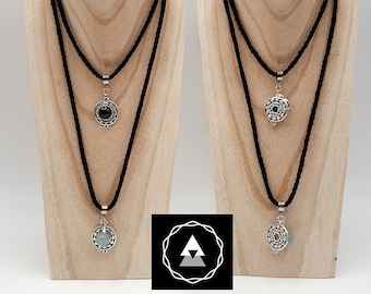 Brim of the neck or Garnet stone heart Chakra necklace, aquamarine