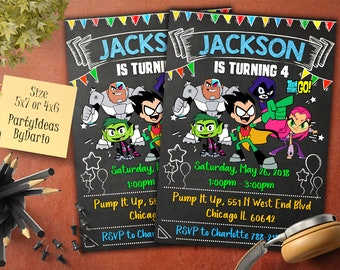 Teen Titans Go Invitation Birthday Invite Superheroes Invitations Personalized TT 03